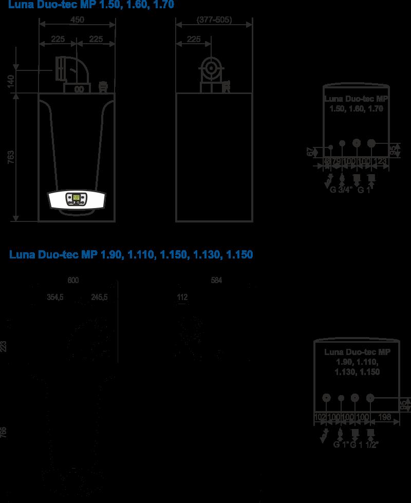 Duo-Tec MP+ beépítési méretek