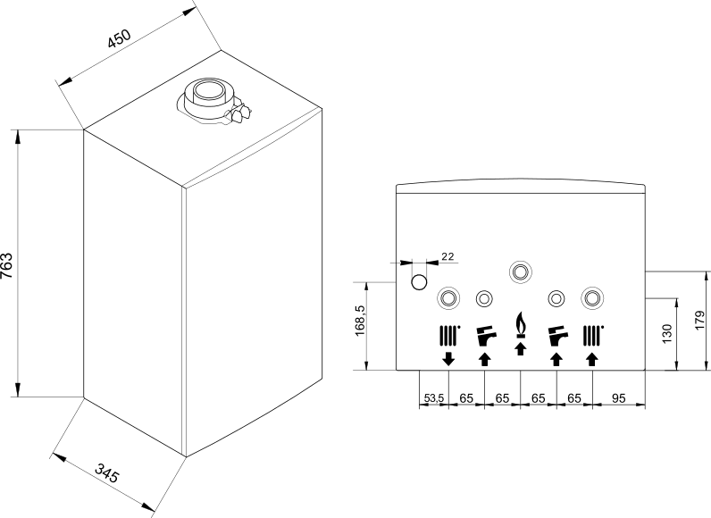 Luna Duo-Tec E bekötési méretek